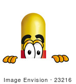 #23216 Clip Art Graphic Of A Red And Yellow Pill Capsule Cartoon Character Peeking Over A Surface