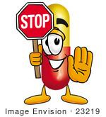 #23219 Clip Art Graphic Of A Red And Yellow Pill Capsule Cartoon Character Holding A Stop Sign