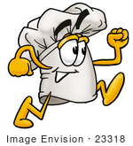 #23318 Clip Art Graphic Of A White Chefs Hat Cartoon Character Running