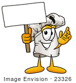 #23326 Clip Art Graphic Of A White Chefs Hat Cartoon Character Holding A Blank Sign