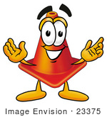 #23375 Clip Art Graphic Of A Construction Traffic Cone Cartoon Character With Welcoming Open Arms