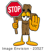 #23527 Clip Art Graphic Of A Wooden Cross Cartoon Character Holding A Stop Sign