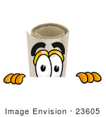 #23605 Clip Art Graphic Of A Rolled Diploma Certificate Cartoon Character Peeking Over A Surface