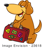 #23618 Clip Art Graphic Of A Cute Brown Hound Dog Cartoon Character Carrying A Suitcase