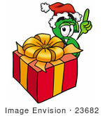 #23682 Clip Art Graphic Of A Green Usd Dollar Sign Cartoon Character Standing By A Christmas Present