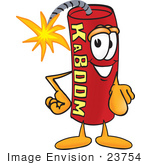 #23754 Clip Art Graphic of a Stick of Red Dynamite Cartoon Character Pointing at the Viewer by toons4biz