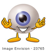 #23765 Clip Art Graphic Of A Blue Eyeball Cartoon Character With Welcoming Open Arms