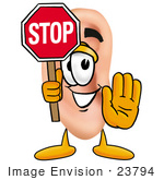 #23794 Clip Art Graphic Of A Human Ear Cartoon Character Holding A Stop Sign
