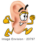 #23797 Clip Art Graphic Of A Human Ear Cartoon Character Running