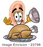 #23798 Clip Art Graphic Of A Human Ear Cartoon Character Serving A Thanksgiving Turkey On A Platter