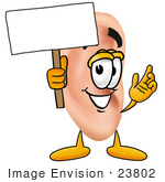 #23802 Clip Art Graphic Of A Human Ear Cartoon Character Holding A Blank Sign
