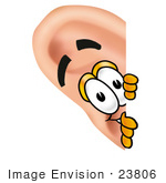 #23806 Clip Art Graphic Of A Human Ear Cartoon Character Peeking Around A Corner