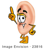 #23816 Clip Art Graphic Of A Human Ear Cartoon Character Pointing Upwards