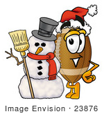 #23876 Clip Art Graphic Of A Football Cartoon Character With A Snowman On Christmas