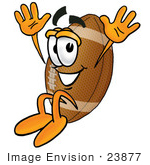 #23877 Clip Art Graphic Of A Football Cartoon Character Jumping