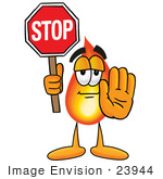 #23944 Clip Art Graphic of a Fire Cartoon Character Holding a Stop Sign by toons4biz