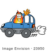 #23950 Clip Art Graphic Of A Fire Cartoon Character Driving A Blue Car And Waving