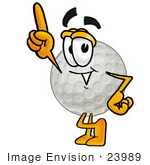 #23989 Clip Art Graphic of a Golf Ball Cartoon Character Pointing Upwards by toons4biz