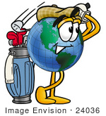 #24036 Clip Art Graphic Of A World Globe Cartoon Character Swinging His Golf Club While Golfing