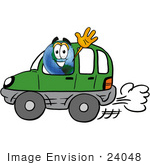 #24048 Clip Art Graphic Of A World Globe Cartoon Character Driving A Green Hybrid Car And Waving