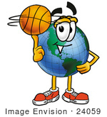 #24059 Clip Art Graphic Of A World Globe Cartoon Character Spinning A Basketball On His Finger