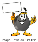 #24122 Clip Art Graphic Of An Ice Hockey Puck Cartoon Character Holding A Blank Sign
