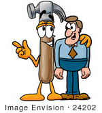 #24202 Clip Art Graphic of a Hammer Tool Cartoon Character Talking to a Business Man by toons4biz