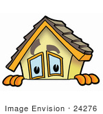 #24276 Clip Art Graphic Of A Yellow Residential House Cartoon Character Peeking Over A Surface