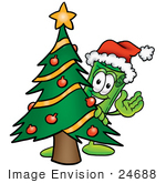 #24688 Clip Art Graphic Of A Rolled Greenback Dollar Bill Banknote Cartoon Character Waving And Standing By A Decorated Christmas Tree