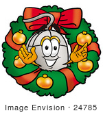 #24785 Clip Art Graphic Of A Wired Computer Mouse Cartoon Character In The Center Of A Christmas Wreath
