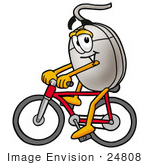 #24808 Clip Art Graphic Of A Wired Computer Mouse Cartoon Character Riding A Bicycle