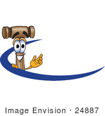 #24887 Clip Art Graphic Of A Wooden Mallet Cartoon Character Logo With A Blue Dash