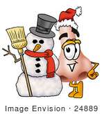 #24889 Clip Art Graphic Of A Human Nose Cartoon Character With A Snowman On Christmas