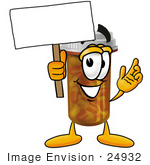 #24932 Clip Art Graphic Of A Medication Prescription Pill Bottle Cartoon Character Holding A Blank Sign