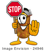 #24946 Clip Art Graphic Of A Medication Prescription Pill Bottle Cartoon Character Holding A Stop Sign