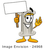 #24968 Clip Art Graphic Of A Pillar Cartoon Character Holding A Blank Sign
