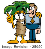 #25050 Clip Art Graphic of a Tropical Palm Tree Cartoon Character Talking to a Business Man by toons4biz