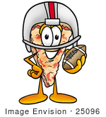 #25096 Clip Art Graphic Of A Cheese Pizza Slice Cartoon Character In A Helmet Holding A Football