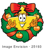 #25193 Clip Art Graphic Of A Yellow Star Cartoon Character In The Center Of A Christmas Wreath