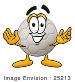 #25213 Clip Art Graphic Of A White Soccer Ball Cartoon Character With Welcoming Open Arms