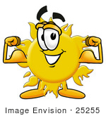 #25255 Clip Art Graphic of a Yellow Sun Cartoon Character Flexing His Arm Muscles by toons4biz
