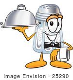 #25290 Clip Art Graphic Of A Salt Shaker Cartoon Character Dressed As A Waiter And Holding A Serving Platter