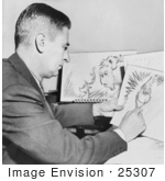 #25307 Stock Photography of Cartoonist and Author, Dr Seuss or Theodor Seuss Geisel, Creating Illustrations For How the Grinch Stole Christmas by JVPD