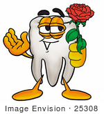 #25308 Clip Art Graphic Of A Human Molar Tooth Character Holding A Red Rose On Valentines Day