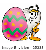 #25338 Clip Art Graphic Of A Human Molar Tooth Character Standing Beside An Easter Egg