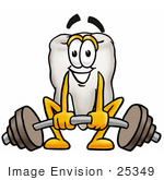 #25349 Clip Art Graphic Of A Human Molar Tooth Character Lifting A Heavy Barbell