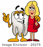 #25375 Clip Art Graphic Of A Human Molar Tooth Character Talking To A Pretty Blond Woman