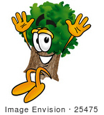 #25475 Clip Art Graphic Of A Tree Character Jumping