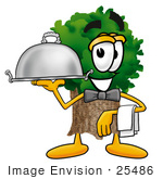 #25486 Clip Art Graphic Of A Tree Character Dressed As A Waiter And Holding A Serving Platter