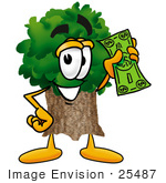 #25487 Clip Art Graphic Of A Tree Character Holding A Dollar Bill